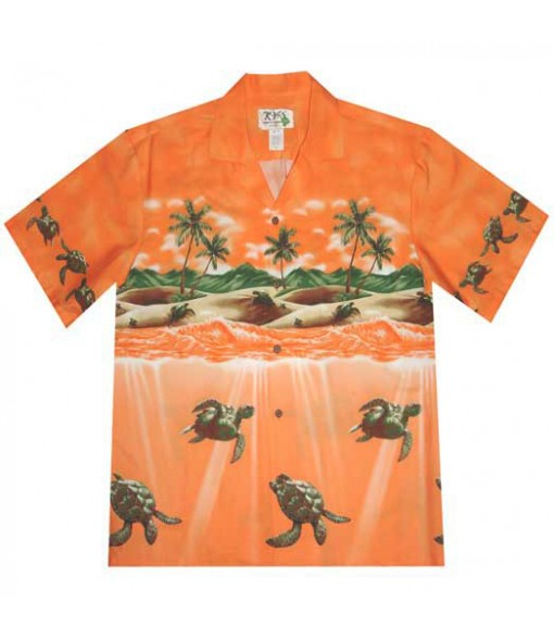 Hawaiian Cotton Aloha Shirt [ Turtle Ocean] Orange