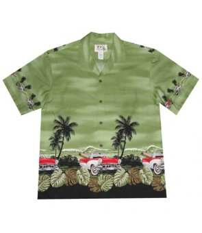 "Hawaiian Cotton Aloha Shirt [ Classic Car Ride 12"" ] Green"