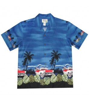 "Hawaiian Cotton Aloha Shirt [ Classic Car Ride 12"" ] Navy"