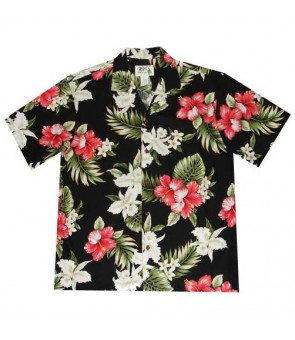 Hawaiian Cotton Aloha Shirt [ Orchid Hibiscus ] Black