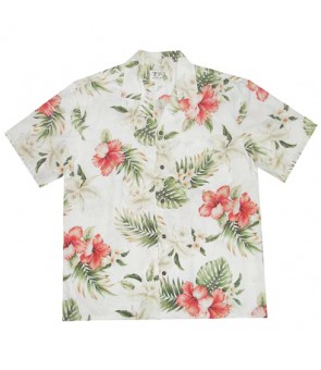 Hawaiian Cotton Aloha Shirt [ Orchid Hibiscus ] White