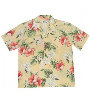 Hawaiian Cotton Aloha Shirt [ Orchid Hibiscus ] Yellow