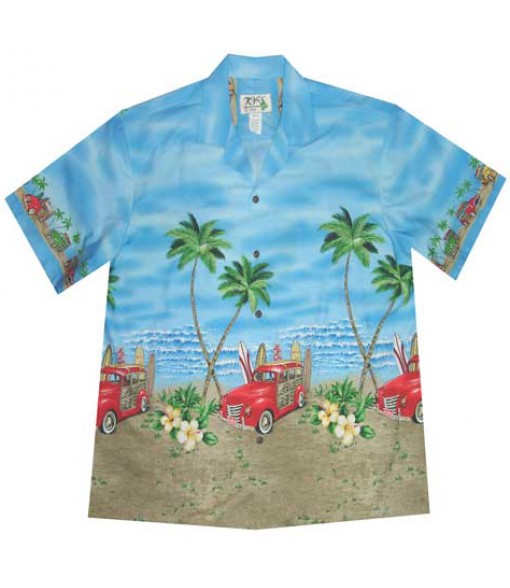"Hawaiian Cotton Aloha Shirt [ Woody Beach 12"" ] Blue"