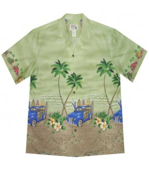 "Hawaiian Cotton Aloha Shirt [ Woody Beach 12"" ] Green"