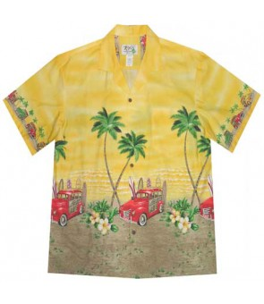 "Hawaiian Cotton Aloha Shirt [ Woody Beach 12"" ] Yellow"