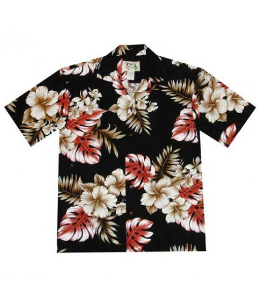 Hawaiian Cotton Aloha Shirt [ Modern Hibiscus ] Black