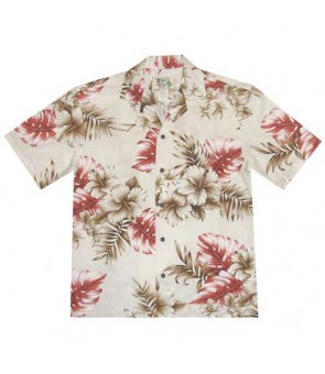 Hawaiian Cotton Aloha Shirt [ Modern Hibiscus ] White