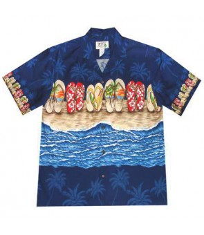"Hawaiian Cotton Aloha Shirt [ Beach Sandal 12"" ] Navy"