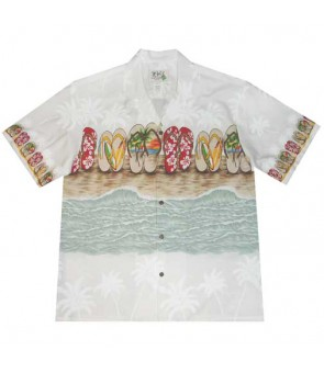 "Hawaiian Cotton Aloha Shirt [ Beach Sandal 12"" ] White"