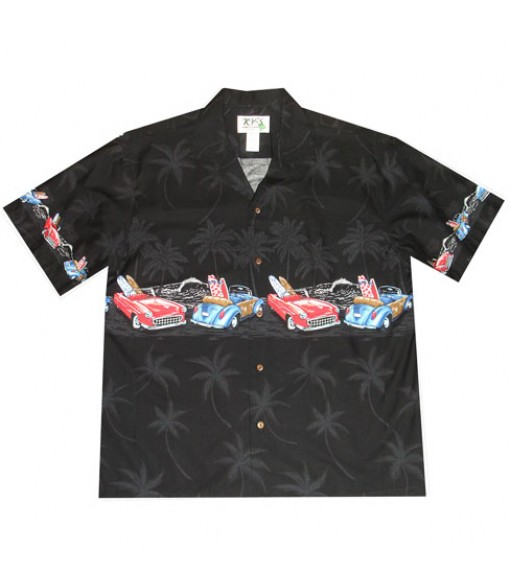 "Hawaiian Cotton Aloha Shirt [ Woody & Classic 12"" ] Black"