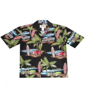 Hawaiian Cotton Aloha Shirt [ Lots of Woody Car ] Black