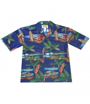 Hawaiian Cotton Aloha Shirt [ Lots of Woody Car ] Navy