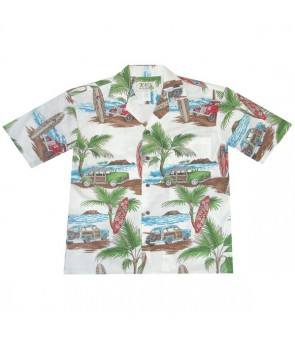 Hawaiian Cotton Aloha Shirt [ Lots of Woody Car ] White