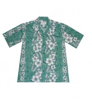 Hawaiian Cotton Boys Aloha Shirt [ Trend Hibiscus ] Green