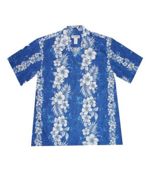 Hawaiian Cotton Boys Aloha Shirt [ Trend Hibiscus ] Navy Blue