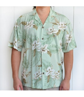 Hawaiian Rayon Aloha Shirt [ Orchid ] Green