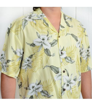 Hawaiian Rayon Aloha Shirt [ Orchid ] Yellow