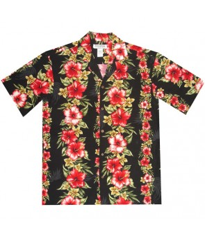 Hawaiian Rayon Aloha Shirt [ Maui Hibiscus Panel ] Black