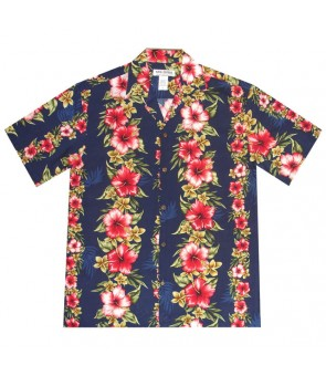 Hawaiian Rayon Aloha Shirt [ Maui Hibiscus Panel ] Navy