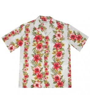 Hawaiian Rayon Aloha Shirt [ Maui Hibiscus Panel ] White