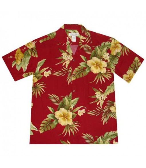 Hawaiian Rayon Aloha Shirt [ Maui Hibiscus ] Red