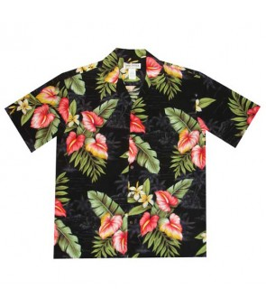 Hawaiian Rayon Aloha Shirt [ Maui Anthurium ] Black