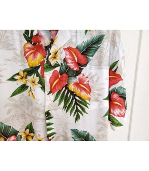 Hawaiian Rayon Aloha Shirt [ Maui Anthurium ] White