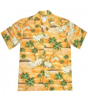 Hawaiian Rayon Aloha Shirt [ Island Orchid ] Orange