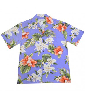 Hawaiian Rayon Aloha Shirt [ White Orchid Hibiscus ] Purple