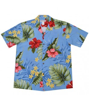 Hawaiian Rayon Aloha Shirt [ Hibiscus Leaf ] Blue