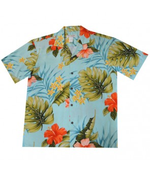 Hawaiian Rayon Aloha Shirt [ Hibiscus Leaf ] Green