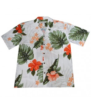 Hawaiian Rayon Aloha Shirt [ Hibiscus Leaf ] White