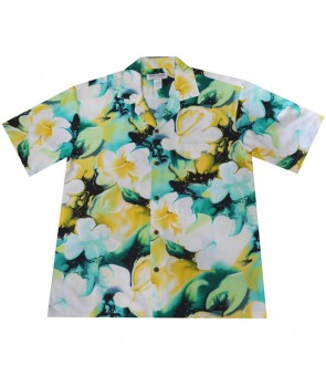 Hawaiian Rayon Aloha Shirt [ Plumeria ] Yellow