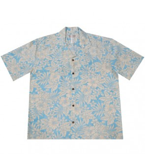 Hawaiian Rayon Aloha Shirt [ Future Garden ] Blue