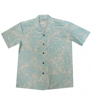 Hawaiian Rayon Aloha Shirt [ Future Garden ] Green