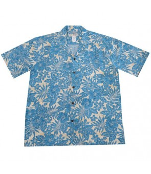 Hawaiian Rayon Aloha Shirt [ Future Garden ] Navy Blue