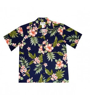 Hawaiian Cotton Aloha Shirt [ Fancy Hibiscus ] Navy Coral