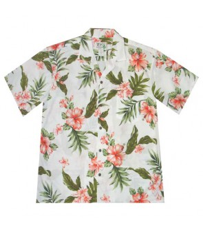 Hawaiian Cotton Aloha Shirt [ Fancy Hibiscus ] White Coral