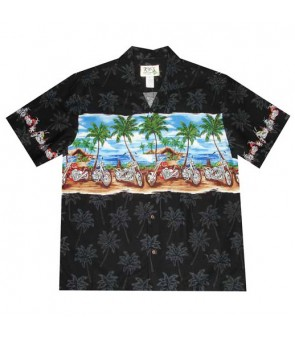 "Hawaiian Cotton Aloha Shirt [ Border / Motorcycle 12"" ] Black"