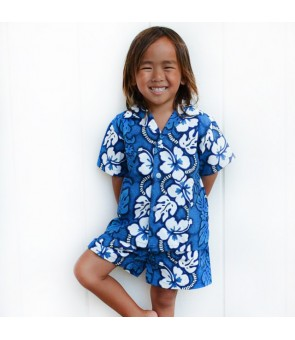 Hawaiian Cotton Boys Cabana Set [ Hibiscus 213 ] Navy Blue