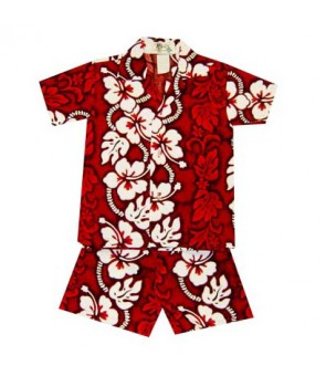 Hawaiian Cotton Boys Cabana Set [ Hibiscus 213 ] Red