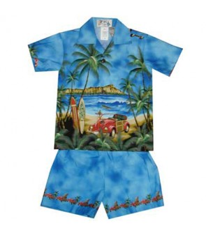 Hawaiian Cotton Boys Cabana Set [ Diamond Head / Surf Car ] Navy Blue