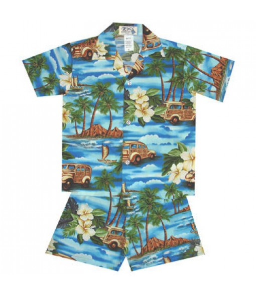 Hawaiian Cotton Boys Cabana Set [ Journey Woody ] Blue
