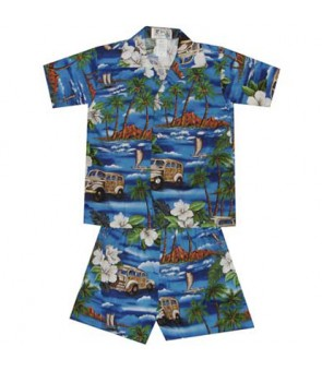 Hawaiian Cotton Boys Cabana Set [ Journey Woody ] Navy