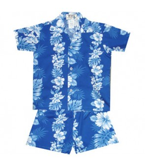 Hawaiian Cotton Boys Cabana Set [ Hibiscus Front Panel ] Navy Blue