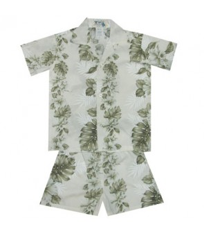 Hawaiian Cotton Boys Cabana Set [ Hibiscus Front Panel ] White