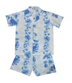 Hawaiian Cotton Boys Cabana Set [ Hibiscus Front Panel ] White Navy Blue