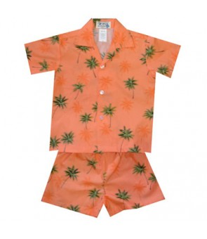 Hawaiian Cotton Boys Cabana Set [ Palm Tree ] Orange