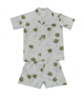 Hawaiian Cotton Boys Cabana Set [ Palm Tree ] White