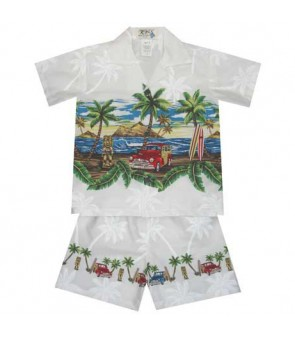"Hawaiian Cotton Boys Cabana Set [ Tiki Woody 12"" ] White"